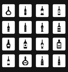 Bottle forms icons set squares vector