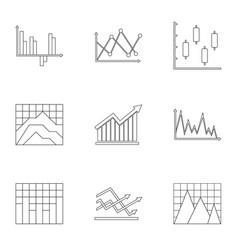 Business stand icons set outline style vector