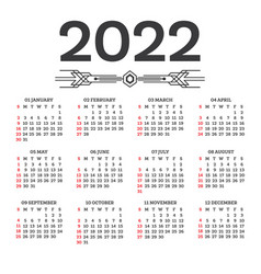 Calendar 2022 isolated on white background week vector
