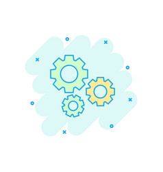 cartoon gear icon in comic style cog wheel vector image