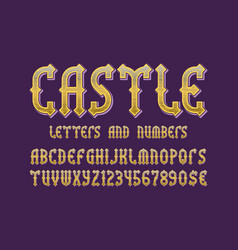 castle golden letters and numbers with currency vector image