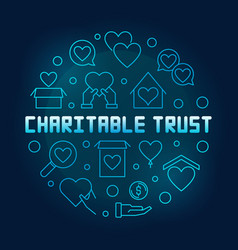charitable trust round blue outline vector image