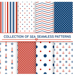 collection of sea seamless patterns vector image