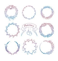 colorful hand drawn christmas wreath frames set vector image