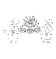 Cooks with holiday cake outline vector image