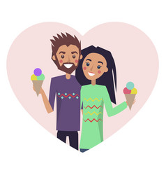 couple in love with ice-cream vector image