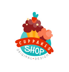 Cupcake shop logo design template bakery and vector