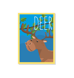 Cute deer with woodland animal vector