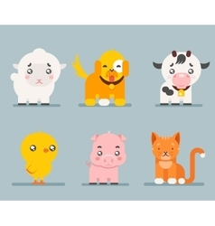 cute farm animals cartoon flat design icons set vector image