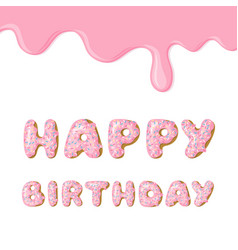 Cute pink birthday card donut with pink glaze vector