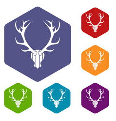 Deer antler icons set vector