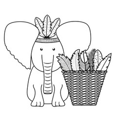 Elephant with feathers hat and basket straw vector