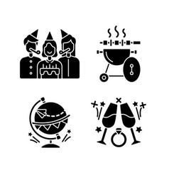 family holiday party black glyph icons set vector image