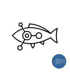 fish outline icon with science or chemical vector image