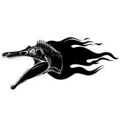 flaming dinosaurus with flames black silhouette vector image