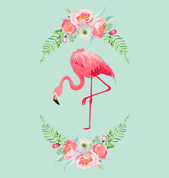 flamingo with place for baby name for poster print vector image