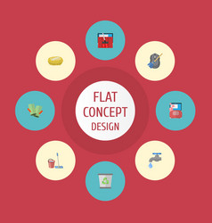 Flat icons sponge carpet vacuuming faucet and vector