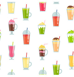 flat smoothie elements pattern or vector image