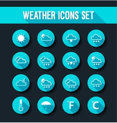 flat weather icons set vector image