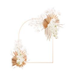 Floral decoration frame dried lunaria vector