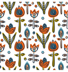 floral seamless pattern as scandinavian textile vector image