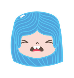 full color girl head with hairstyle and pity face vector image