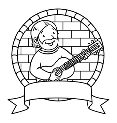Funny musician or guitarist Coloring book Emblem vector