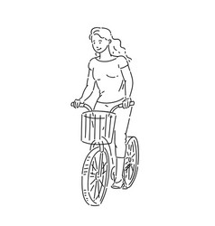 Girl rides bicycle with shopping basket in summer vector