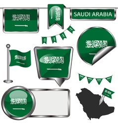 Glossy icons with saudi arabian flag vector