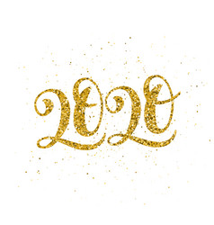 Golden 2020 happy new year poster with hand drawn vector
