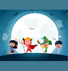 Group cartoon kids in halloween in the vector