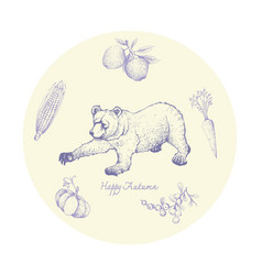 Hand drawn grizzly bear with autumn fruits and vector