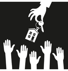 Hand real estate agent holding holds a key with a vector image