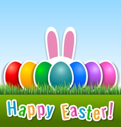 Happy Easter card with eggs and bunny ears vector image