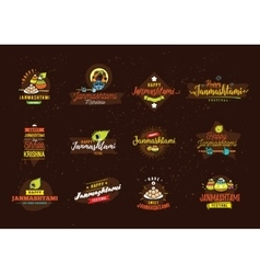 Happy Janmashtami festival typographic vector image