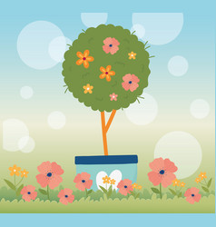 happy spring tree flowers in pot floral grass blur vector image