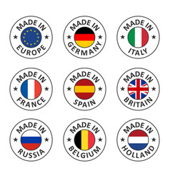 icon set made in germany france italy vector image