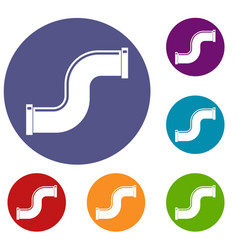 joint pipe in form s letter icons set vector image