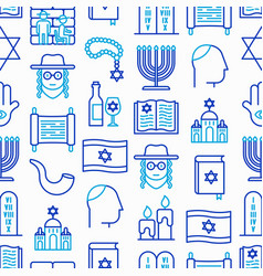 Judaism seamless pattern with thin line icons vector