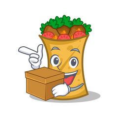 Kebab wrap character cartoon with box vector