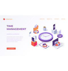 landing page for time management vector image