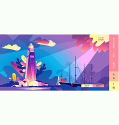 Lighthouse wave banner bad weather vector