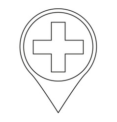 Line art black and white hospital map sign vector