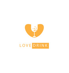 love drink logo icon glass abstract design vector image