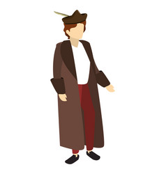 Man christopher columbus with coat and hat vector