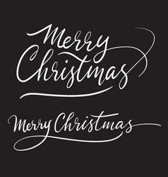 merry christmas handwriting calligraphy vector image
