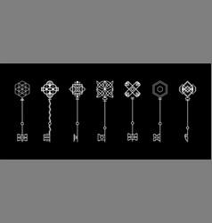 Modern key collection retro key logo design vector