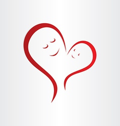 mothers love icon mother and baby heart shape vector image