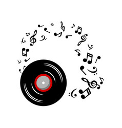 music notes with music plate on white background vector image