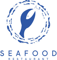 Negative space concept of seafood restaurant with vector